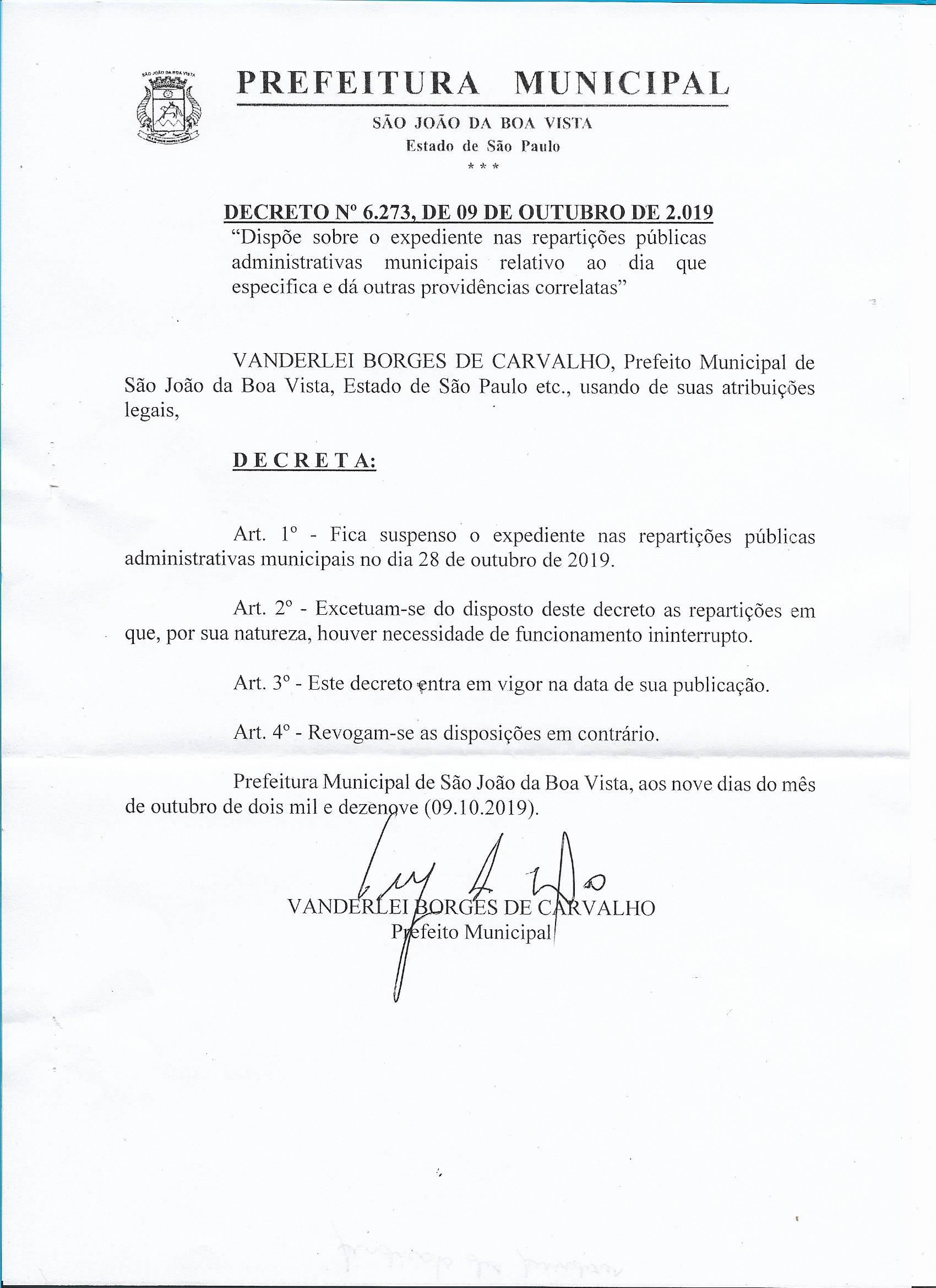 decreto dia 28.10.2019